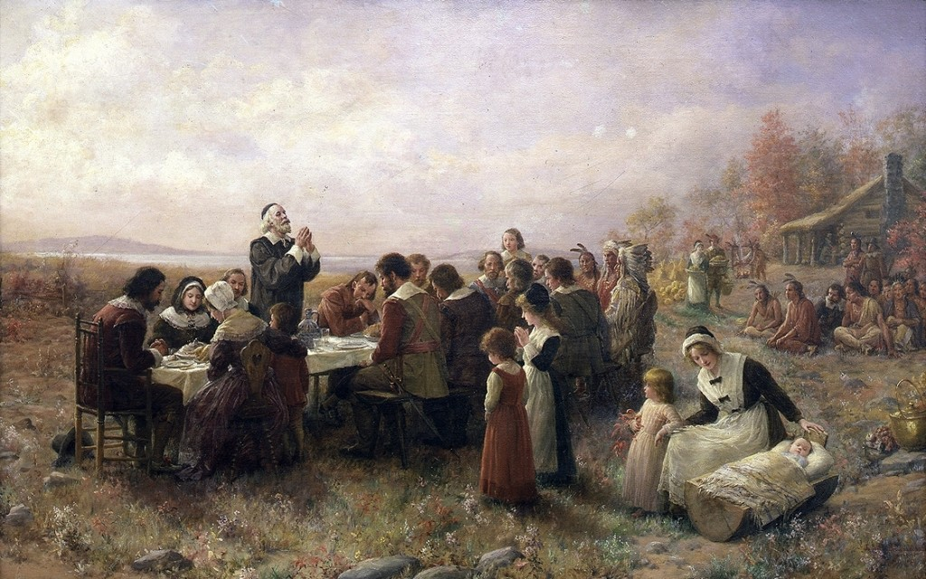 The Pilgrims thank the Lord for his blessings during the First Thanksgiving