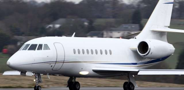 A Dassault Falcon 2000 Business Jet Takes Off