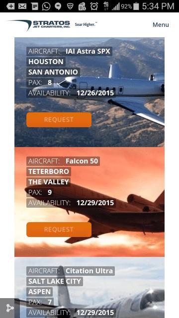 Mobile friendly deadhead charter flights