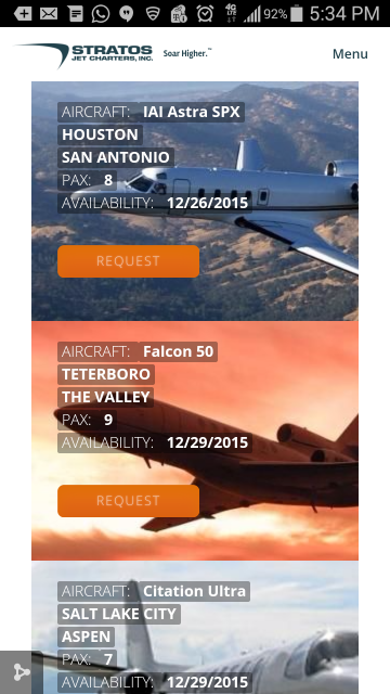 Stratos Jet Charters' mobile-friendly empty legs page gives travelers easy access to the largest database of discounted one-way jet charters.