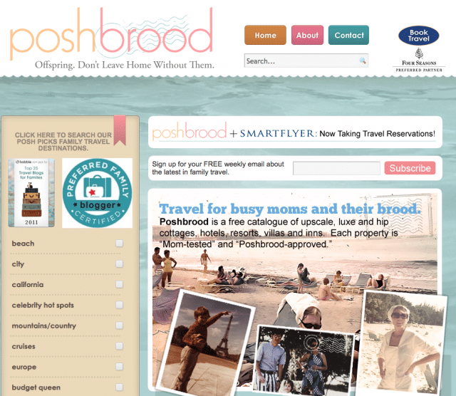 Poshbrood's extensive luxury travel directory is many a mama's version of 'Lonely Planet.'