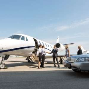 people boarding private jet charter