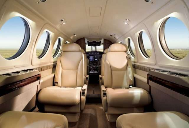 turboprop charter planes - King Air 200 interior