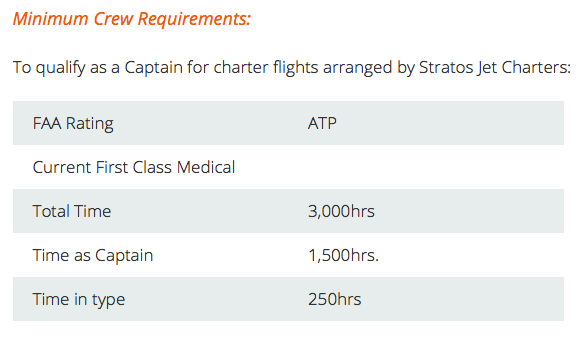 Charter flights require experienced pilots