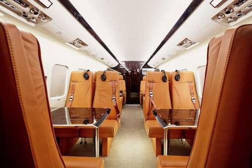 interior of private jet rental
