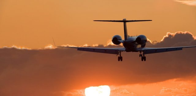 jet and sunset