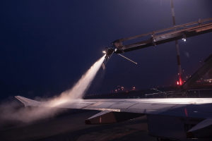 Jet wing being de-iced