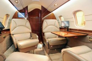 interior of a private jet charter